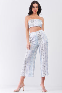 Silky Snake Print Sleeveless Crop Top & High Waist Flare Bottom Pants Set