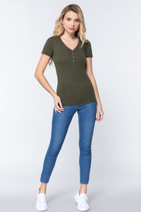Short Slv V-neck Henley Knit Top