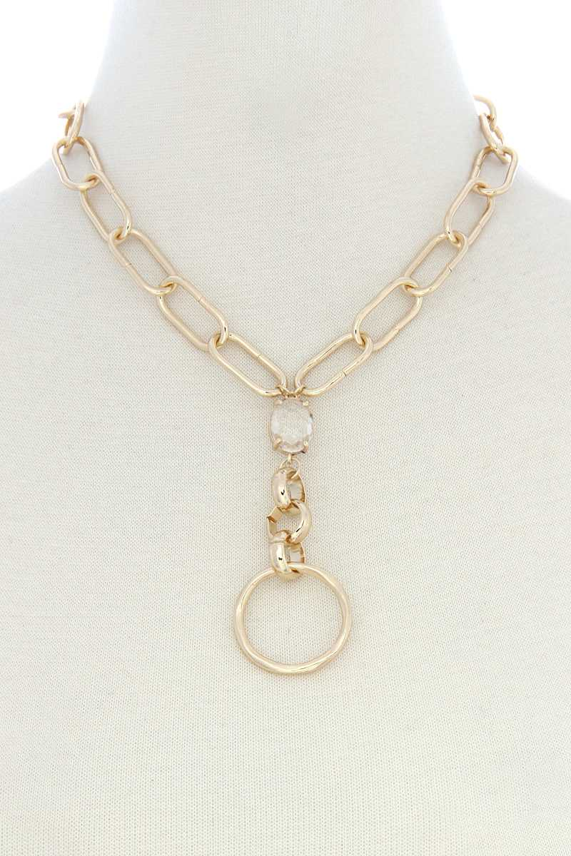 Circle Pendant Oval Link Y Shape Metal Necklace