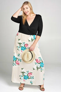 Solid Knit Wrap Maxi Dress