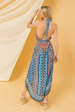 Load image into Gallery viewer, Halter Neck High Low Dress With Mixed Print