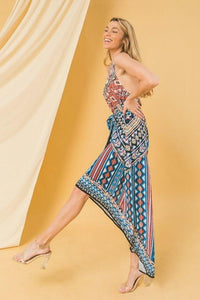 Halter Neck High Low Dress With Mixed Print