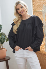 Load image into Gallery viewer, Draped Ruffle Longsleeve Top
