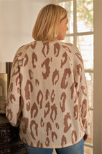 Load image into Gallery viewer, Plus Ivory & Taupe Leopard Print Round Neck Long Sleeve Super Soft Sweatshirt