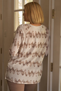 Plus Size Cream & Taupe Abstract Blur Print Relaxed Sweatshirt