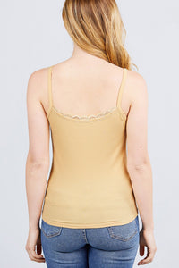 Lace Trim Rib Cami Knit Top