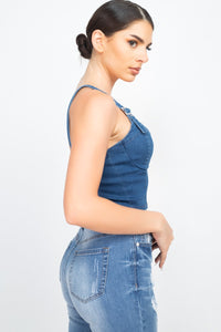Sweetheart Neck Adjustable Denim Top