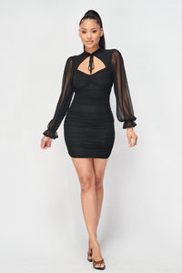 Ruched Cut-out Sheer Long Sleeve Mini Dress