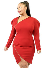 Load image into Gallery viewer, Plus Solid Zipper Trim Detail Mini Dress