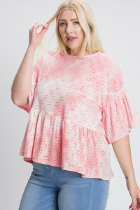 Tie Dye Ruffled Sleeves And Bottom Eyelet Blouse
