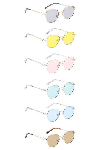 Dazzling Small Metallic Rounded Sunglasses