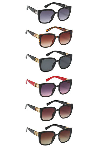 Modern Metal Accent Link Design Sunglasses