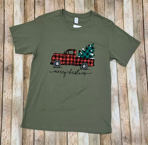 Plaid Merry Christmas Truck Tee