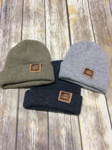 Merino Wool Beanies with Cork Leather Tag