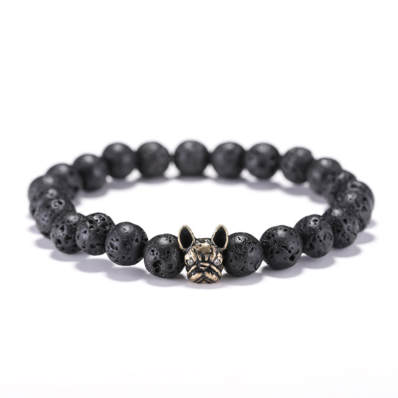 Natural Stone Lava Beads Dog  Bracelet
