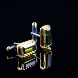 Green Tourmaline & Gold Cufflinks I