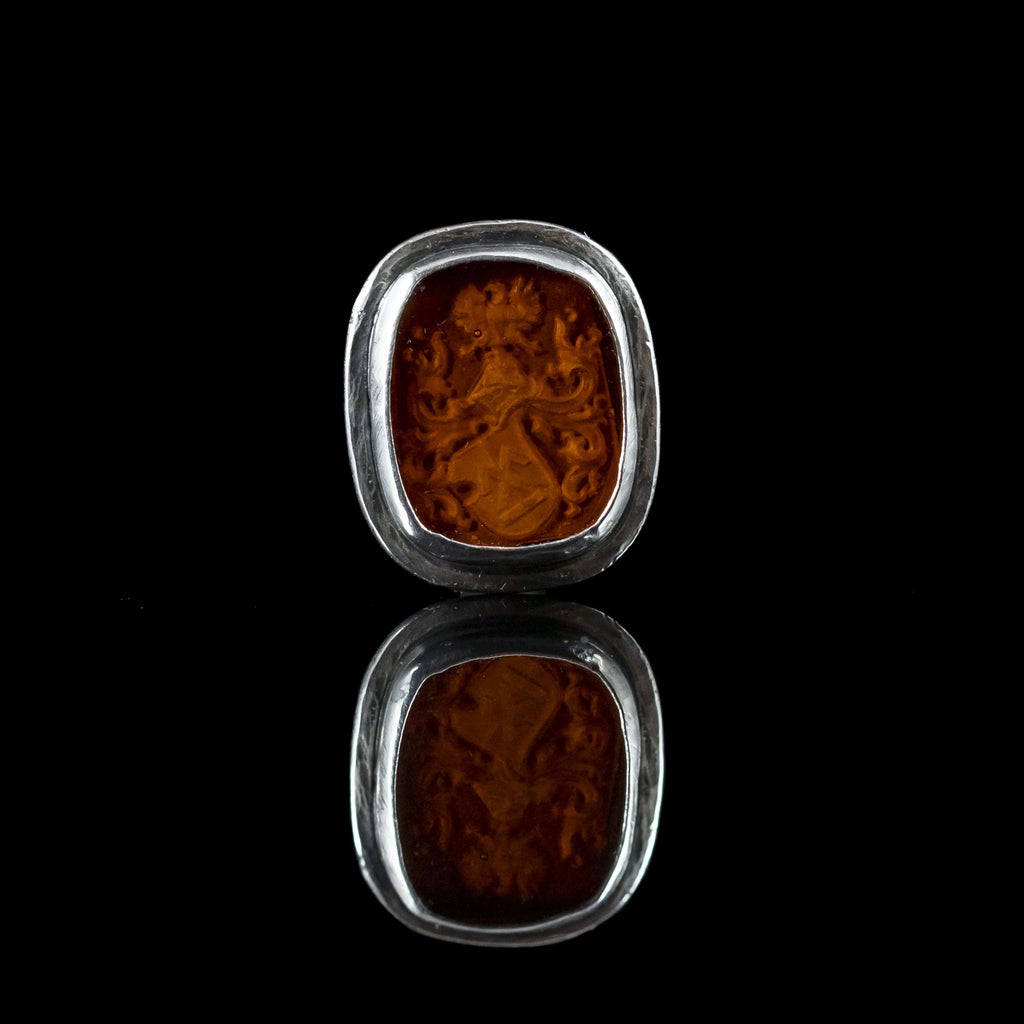 Silver & Orange Crest Intaglio Cufflinks