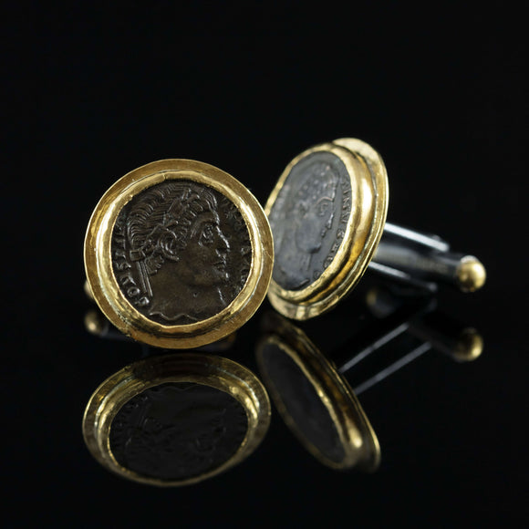 Roman Empire Copper Coin & Gold Cufflinks IV