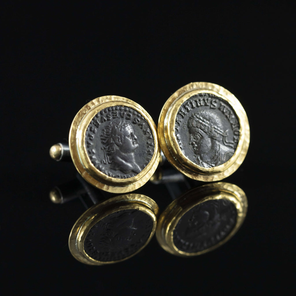 Roman Empire Copper Coin & Gold Cufflinks II