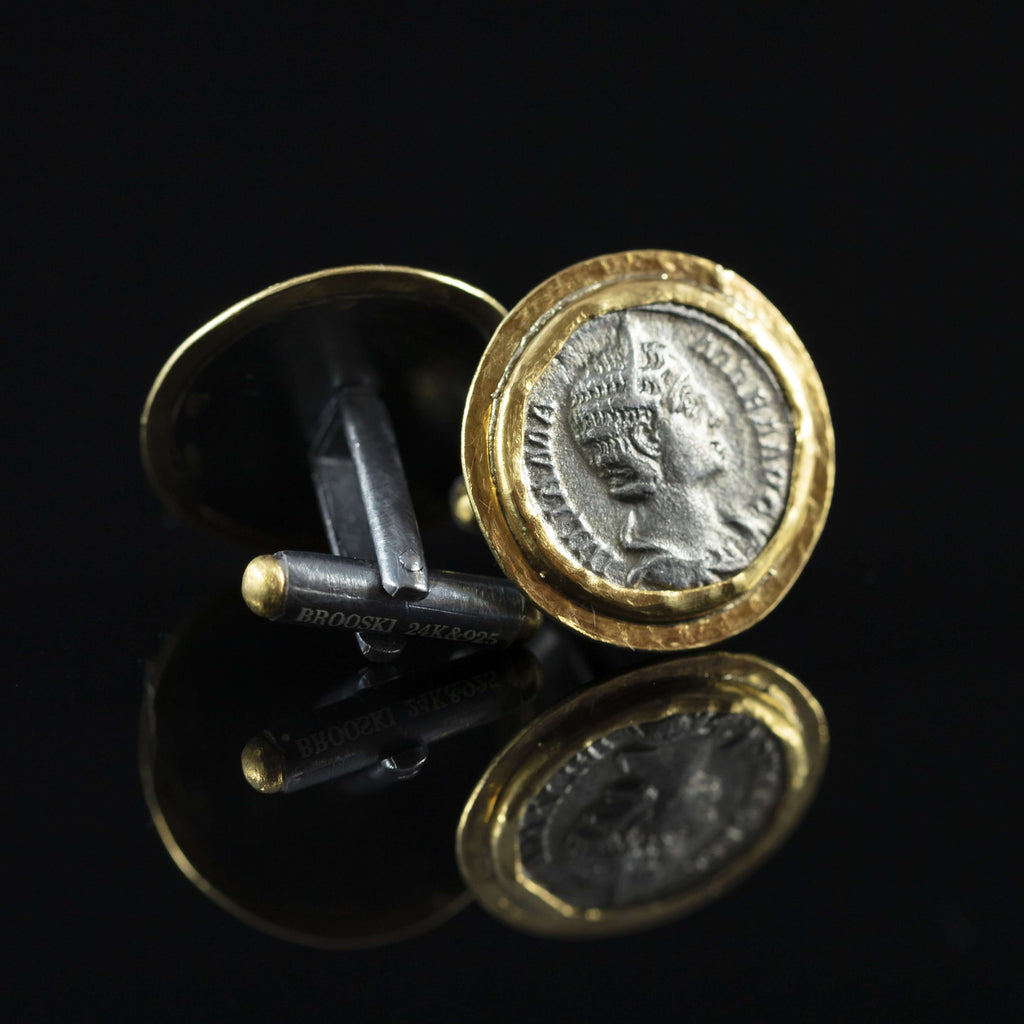 Julia Mamaea Silver Coin & Gold Cufflinks