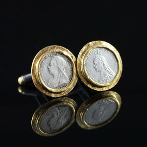 Queen Victoria Silver Coin & Gold Cufflinks I