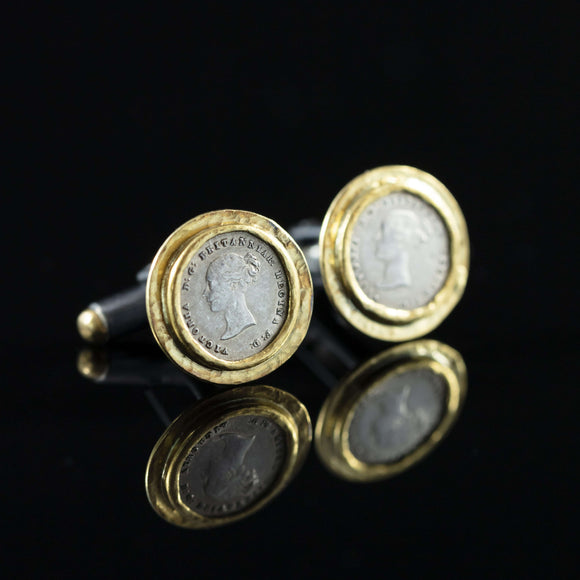 Queen Victoria Silver Coin & Gold Cufflinks II