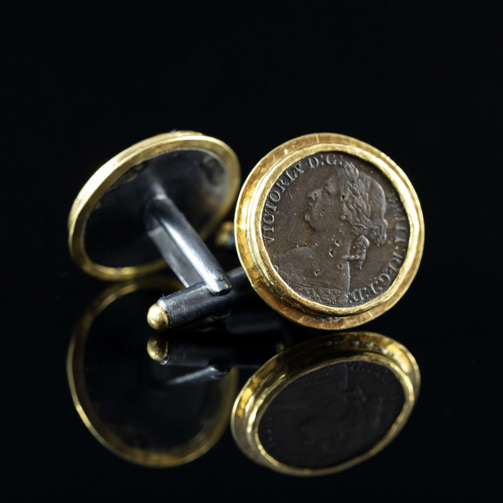Queen Victoria Copper Coin & Gold Cufflinks