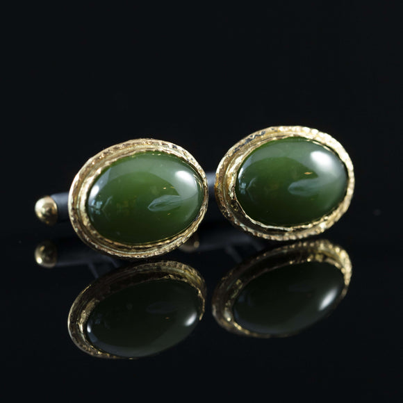 Green Jade & Gold Cufflinks