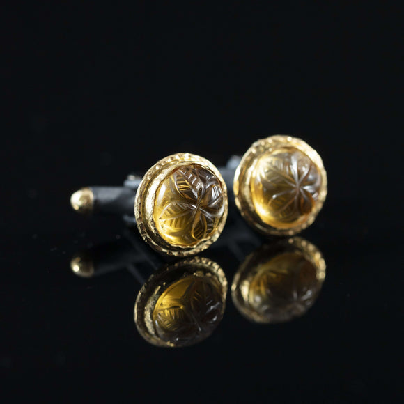 Carved Citrine & Gold Cufflinks