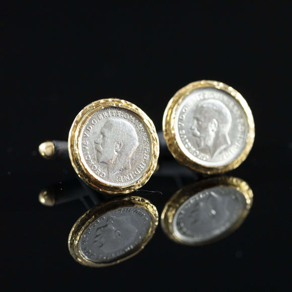 George V Silver Coin & Gold Cufflinks IV