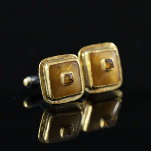Amber, Diamond & Gold Cufflinks
