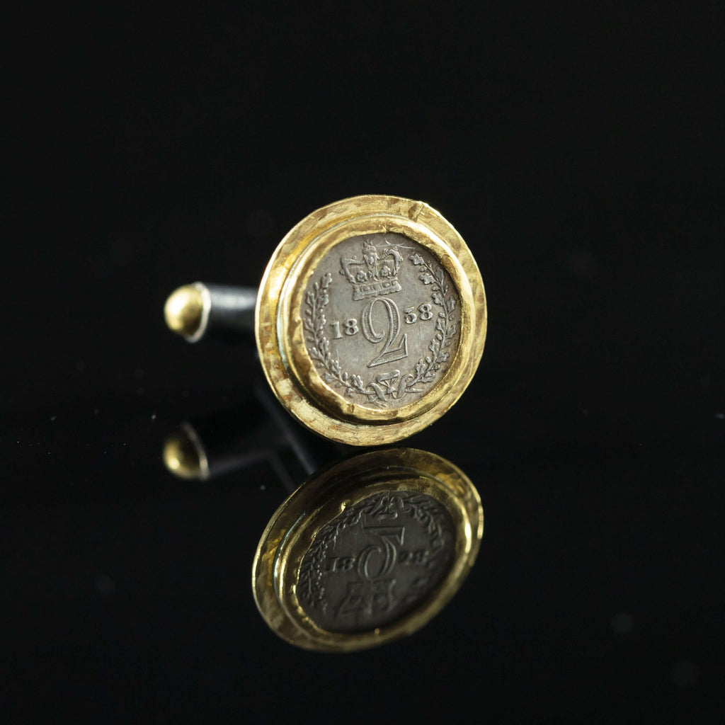 Queen Victoria Silver Coin & Gold Cufflinks III