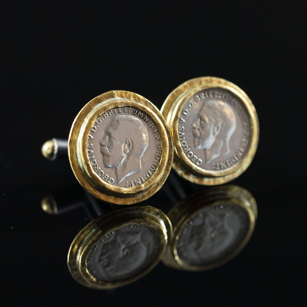 George V Silver Coin & Gold Cufflinks V