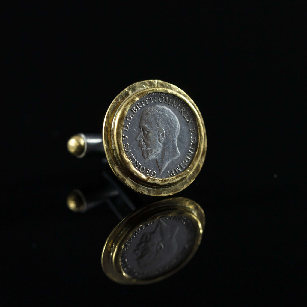 George V Silver Coin & Gold Cufflinks VI