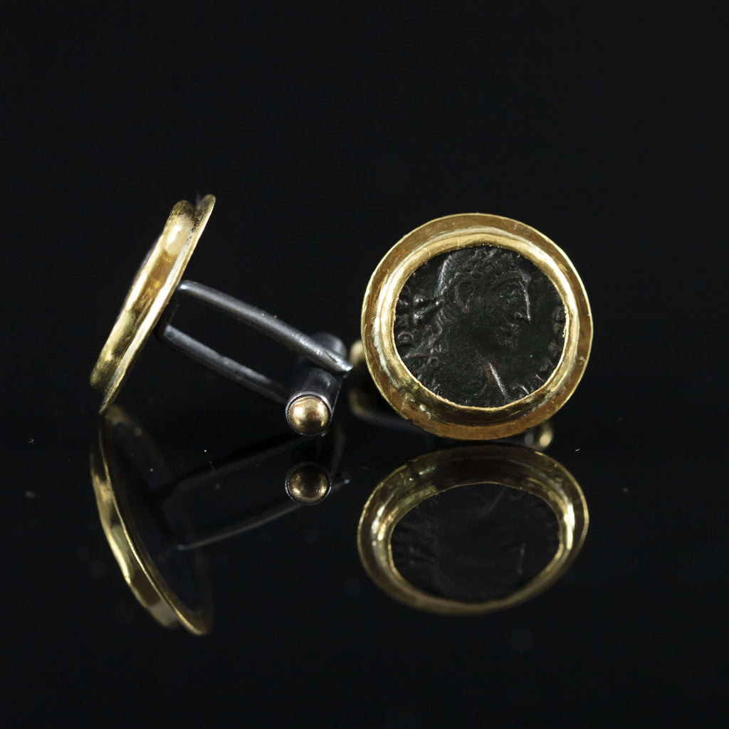 Roman Empire Copper Coin & Gold Cufflinks VII