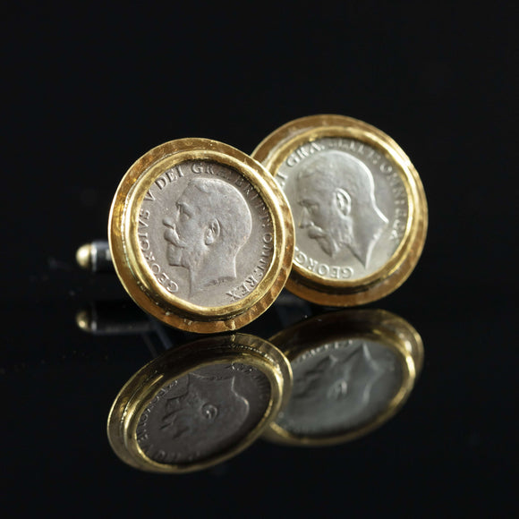 George V Silver Coin & Gold Cufflinks II