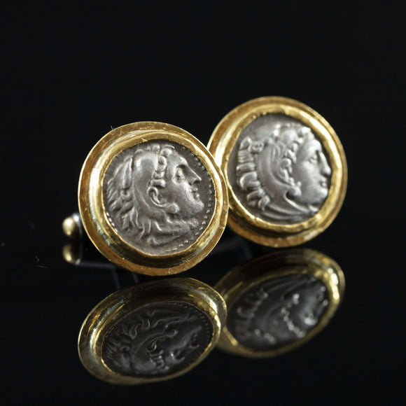 Alexander the Great Silver Coin & Gold Cufflinks