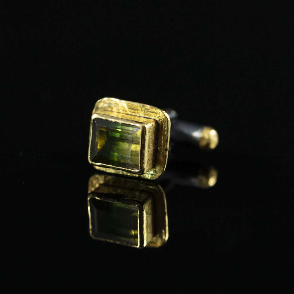 Watermelon Tourmaline & Gold Cufflinks
