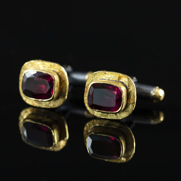 Red Tourmaline & Gold Cufflinks