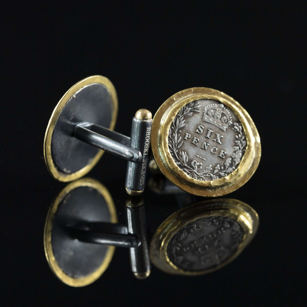 George V Silver Coin & Gold Cufflinks III