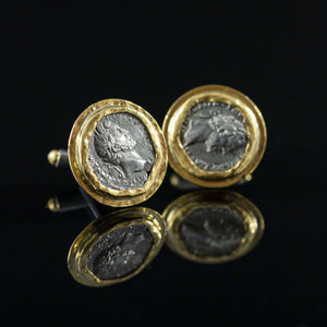 Roman Silver Coin & Gold Cufflinks