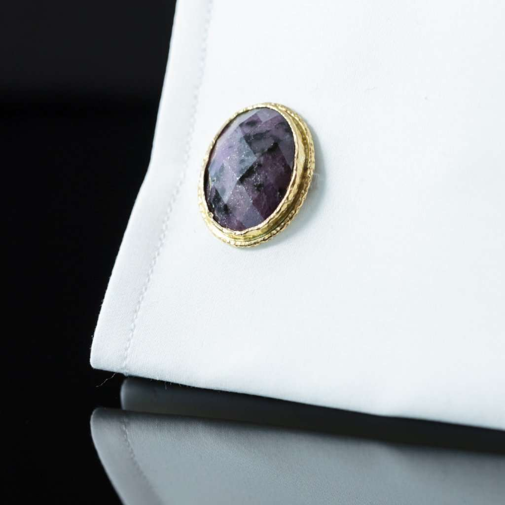 Ruby Root & Gold Cufflinks