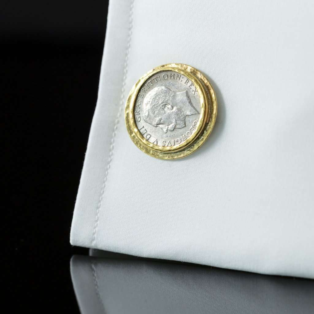 George V Silver Coin & Gold Cufflinks I