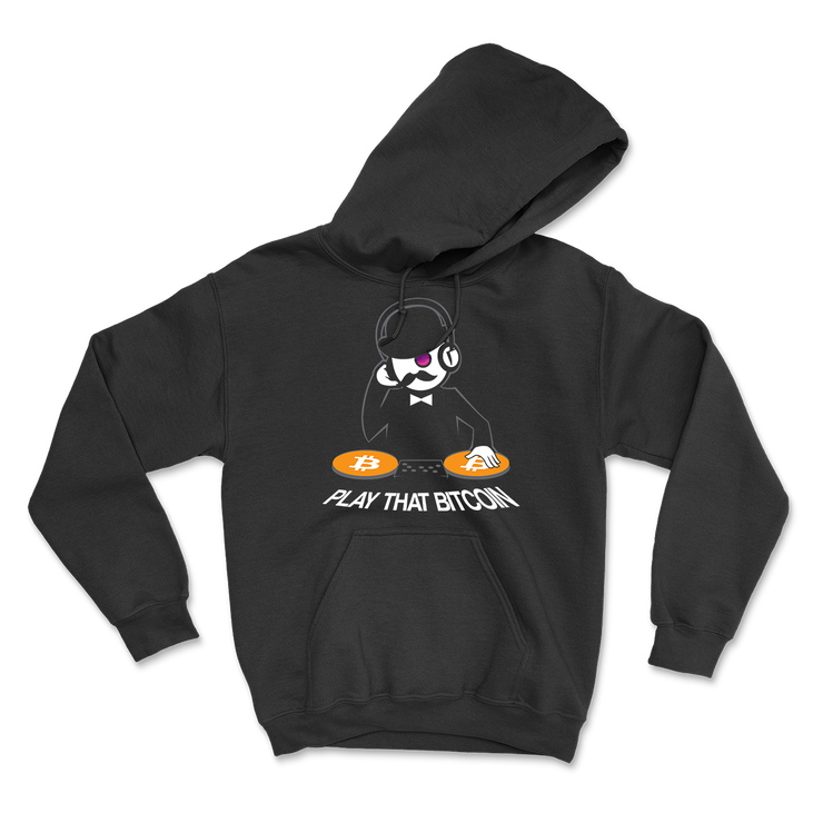 Play That Bitcoin Hoodie - Black Cat Crypto Clothing
