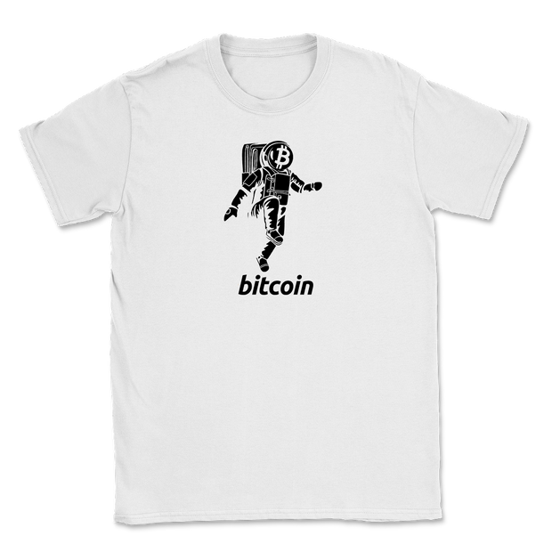Moon Walking | Bitcoin Shirt | White - Black Cat Crypto Clothing