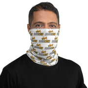 Dogecoin Neck Gaiter White - Black Cat Crypto