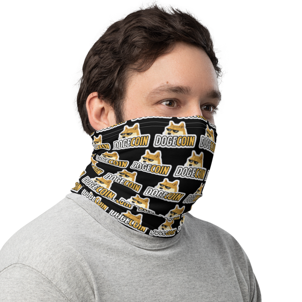 Dogecoin Neck Gaiter Black - Black Cat Crypto