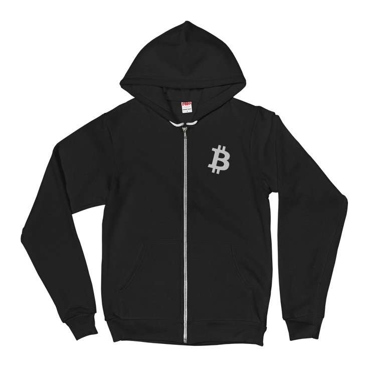 Bitcoin Zip Up Hoodie - Black Cat Crypto Clothing