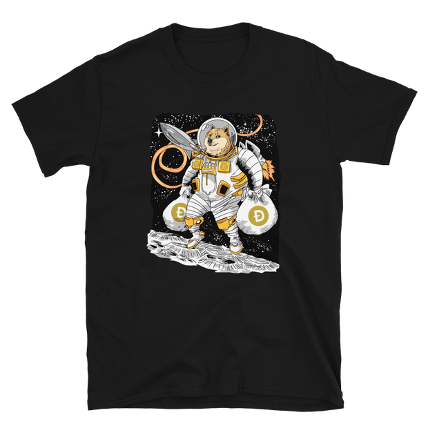 Man on the Moon Dogecoin Shirt - Black Cat Crypto