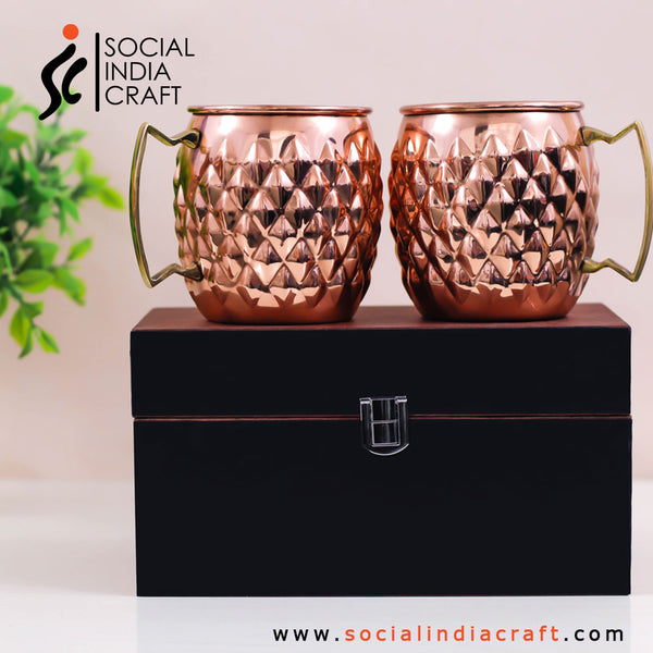 Copper Diamond Mugs Two Piece Set